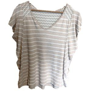 Lane Bryan Tan Striped Blouse w/Lace, 14/16